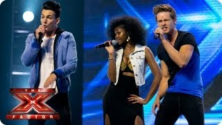 Dynamix sing Let's Get It Started by Black Eyed Peas-- Arena Auditions Week 4 -- The X Factor 2013