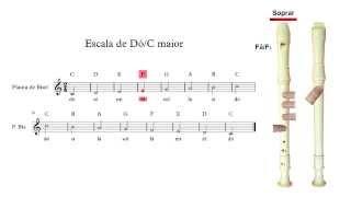 Flauta de Bisel (ou flauta doce) - Escala de dó maior
