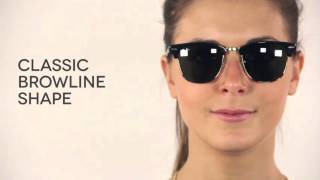 ray ban rb3016 classic clubmaster sunglasses 51mm  ray ban rb3016 clubmaster w0365. video