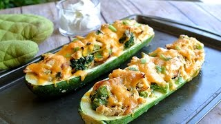 Keto Recipe - Cheesy Zucchini Boats