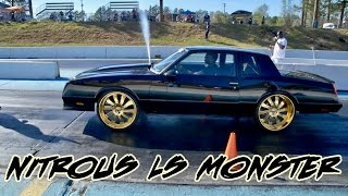 NITROUS MONTE CARLO SS LS POWERED BEAST ON 24 INCH GOLD FORGIOTO WHEELS TAKES OUT A CHEVELLE!!!