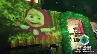 Projeção no aniversario da Emanuelle 4 Anos MARSHA E O URSO
