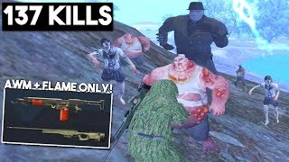 ONLY AWM + FLAMETHROWER vs ZOMBIES & SQUADS!   PUBG Mobile
