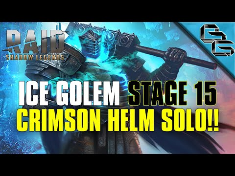 RAID: Shadow Legends | Ice Golem Stage 15 on Auto | Crimson Helm Solo!! | F2P