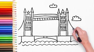 Learn how to draw London Bridge - Drawing video for kids, kids learn art step by step 👣🌸🌲🌹🌻