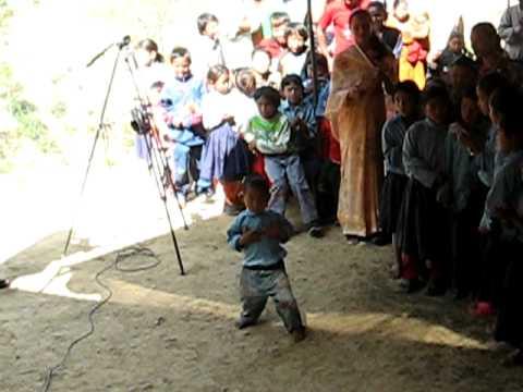 Nepali boy dancing in the village