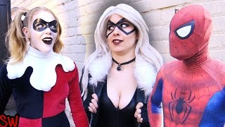 Spider-Man VS Harley Quinn & Black Cat - Real Life Superhero Movie