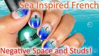 DIY: Sea Inspired Negative Space Nail Art