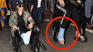 Injured Kangana Ranaut On Wheel Chair Snapped At Airport