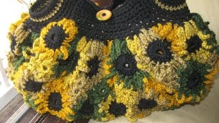 Crochet Flower Purse Tutorial 2 - Left Handed Crochet Tutorial - Connectors and Handles