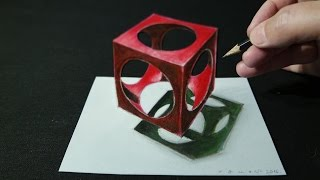 How I Draw a 3D Holey Cube, Trick Art by Vamos