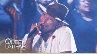"Pharrell Williams Performs ""Happy"" on The Queen Latifah Show"