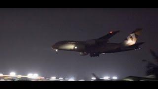 Etihad Airways Airbus A380 - World's Largest Passenger Aircraft Majestic Landing at Night at Mumbai