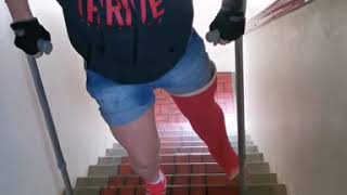 walking up stairs in long leg cast with crutches
