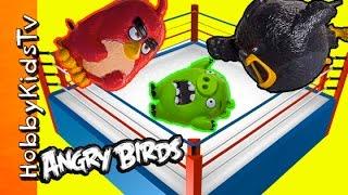Angry Birds Shake Battle! Fire Ball + Bad Piggies Wrestling Match Royale by HobbyKidsTV