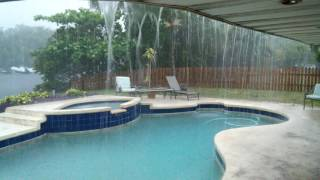 Heavy Rainstorm in Pompano Beach Florida with Lightning and Thunder