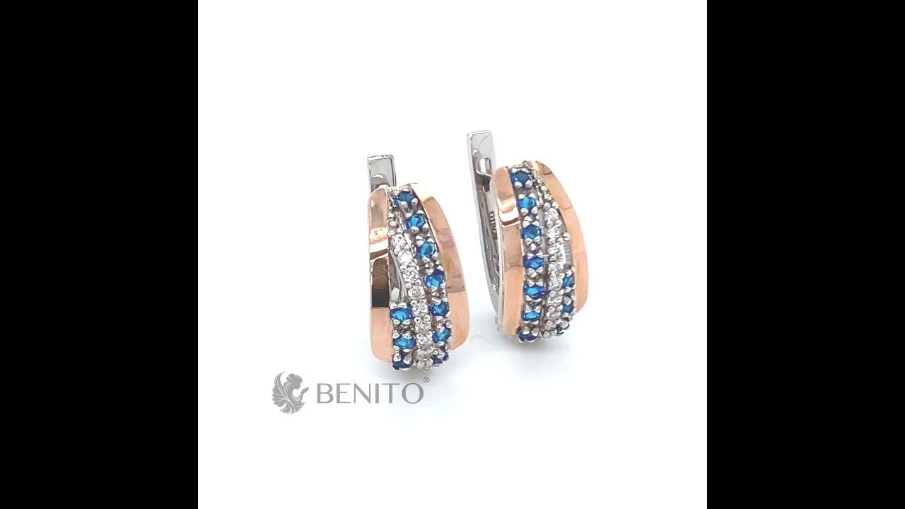 Clelia Earrings Blue and White Zircon Stones