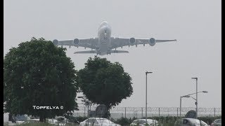 What a Thrilling view ! Heavy Airplanes A380 and Boeing 747 taking off