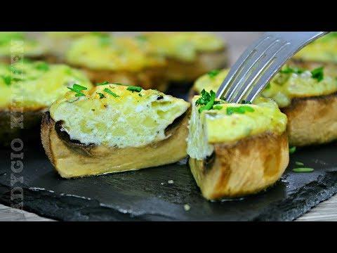Ciuperci umplute cu oua si branza