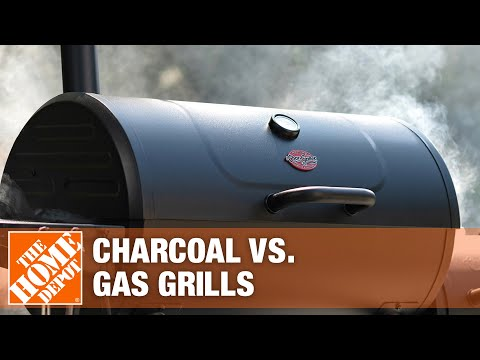 A video talks about the differences between gas and charcoal grills.