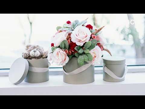 Flower Hat Box Ribbon Round Set 3 Light Grey (18.5cmx15cmH)