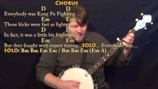 Kung Fu Fighting (Carl Douglas) Banjo Cover Lesson with Chords/Lyrics