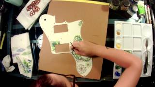How to Paint A Pickguard (speed painting)