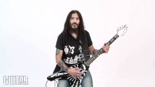 Machine Head's Robb Flynn shows off his Epiphone Love/Death Guitar