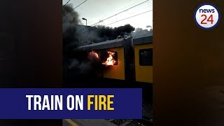 WATCH: Burning train pulls in at station in Cape Town