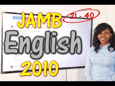 JAMB CBT English 2010 Past Questions 21 - 40
