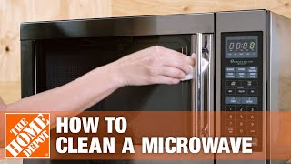 A video demonstrating how to clean a microwave oven.