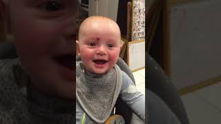 Laughing hysterically at pacifier baby 3 months older... still laughing!