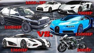 VW Golf 1200HP vs Bugatti Chiron, Koenigsegg One, Kawasaki H2R Tacho Comparison 2017