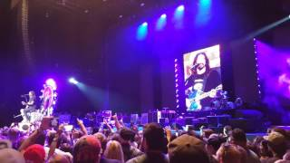 Foo Fighters Dave Grohl talking between songs live on September 27, 2015 in Albuquerque, N.M.