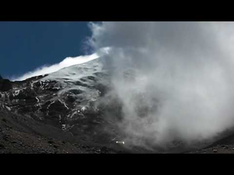Clouds envelope the peak of Chimborazo Volcano in Riobamba Ecuador