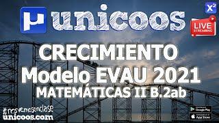 Imagen en miniatura para LIVE!!! Modelo EvAU 2021 - Matemáticas II 10 - Ejercicio B.2ab Crecimiento y extremos