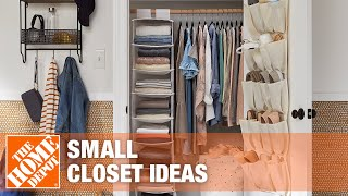 A video reviews different ways to organize a small closet.
