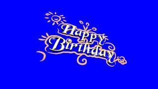4K Happy Birthday Sketch Blue Screen Effect Free Footage