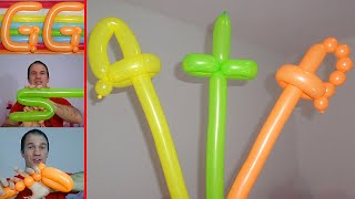 como hacer espadas con globos largos - globoflexia para niños,  espada con globos paso a paso
