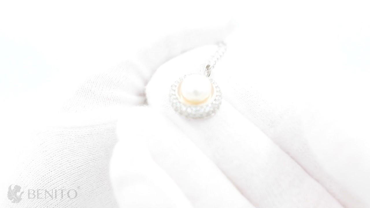 Luciana Pendant Pearl and White Zircon Stones