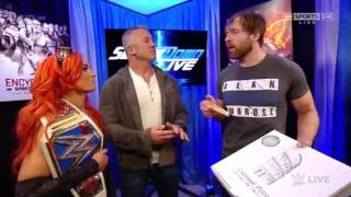 Shane Mcmahon, Becky Lynch and Dean Ambrose segment wwe smackdown live