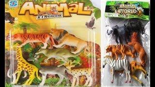 Animali della giungla e la fattoria giocattolo per bambini In italiano tigre leone zebra elefante