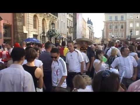 Euro 2012 football fans from Germany and Denmark in Lviv (Ukraine)