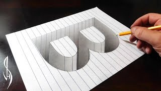 Drawing B Hole in Line Paper - 3D Trick Art Optical Illusion