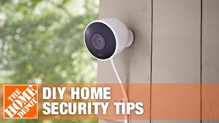 A Home Depot home security expert gives a homeowner advice.