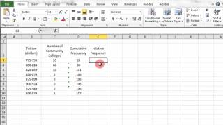 Excel Cumulative Frequency and Relative Frequency width=