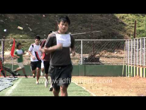 Running test for army recruits in Aizawl, Mizoram