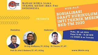 Webinar Sosialisasi Draft Kurikulum Inti Teknik Mesin BKS-TM 2020