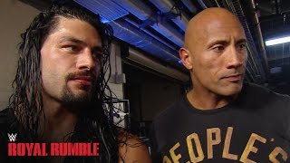Roman Reigns celebrates with The Rock after winning the Royal Rumble Match - WWE Network width=