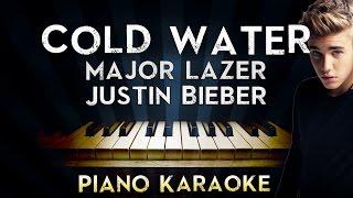 Major Lazer - Cold Water (ft.Justin Bieber & MØ) | LOWER Key Piano Karaoke Instrumental Lyrics